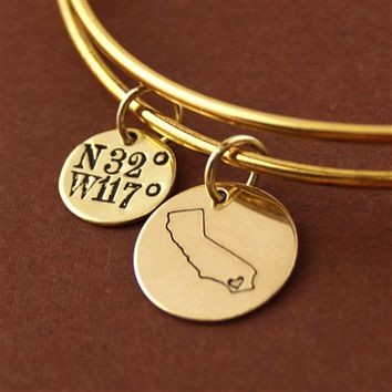 Custom State Coordinates Adjustable Bangle Bracelet - Spiffing Jewelry