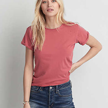 AEO Destroyed Crew T-Shirt , Rose