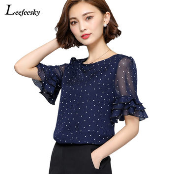 New Fashion 2016 Summer Short sleeve women chiffon blouse Polka Dot Flared women blouses Plus size Women Clothing Ladies Tops