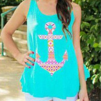 Blue Anchor Print Slit Back Tank Top