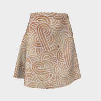 Iced coffee and white swirls doodles Flare Skirt Flare Skirt