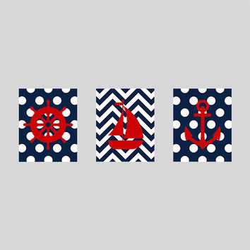 Nursery Print Nautical Sailboat Anchor, Navy Red Nautical Print, CUSTOMIZE YOUR COLORS, 8x10 Prints, set of 3, nursery decor art baby decor