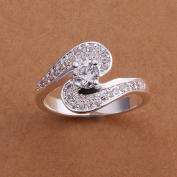 Double Hook Gem Silver Ring