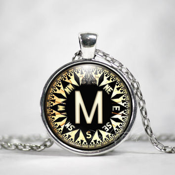 Initial Necklace, Best Friend,Back to School, Teacher Gift, The Letter Art Pendant, Compass Charm Pendant, Alphabet Necklace