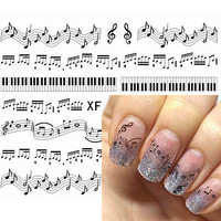 1 Sheet Black Cute Musical Notes Piano Keys Pattern Nail Water Decals Nail Stickers Transfer Sticker XF127