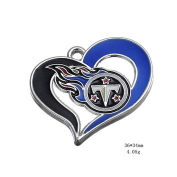 Heart Alloy Tennessee Titans Football Team Charms Dangle Charms For DIY Bracelet & Necklace Jewelry Accessory Hanging Charms