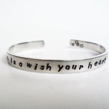 Disney Cinderella Inspired Bracelet - A Dream is a Wish Your Heart Makes - Hand Stamped Aluminum Cuff- Customizable