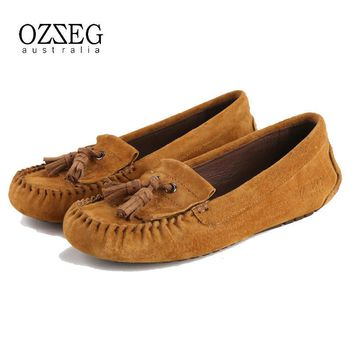 Women shoes flats Women casual moccasins loafers 100% Genuine leather Slip On, driving