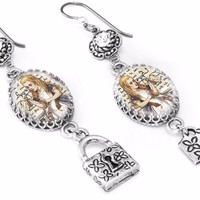 Alice in Wonderland Earrings, Silver Earrings