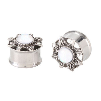 Steel White Opal Flower Cutout Plug 2 Pack