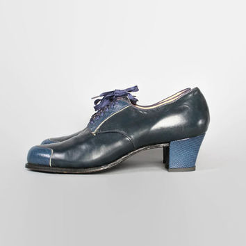 40s Navy Blue Leather Deadstock OXFORDS / Vintage 1940s Cap Toe Swing Shoes, 9 9.5