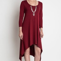 In the Meadow Burgundy Asymmetrical Hem Hi-Low Midi Dress - LAST ONE - FINAL SALE!