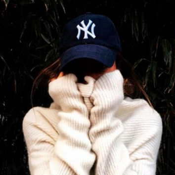 "Unisex Clean Up Adjustable Baseball Cap ""NY"" Dark blue white letters"
