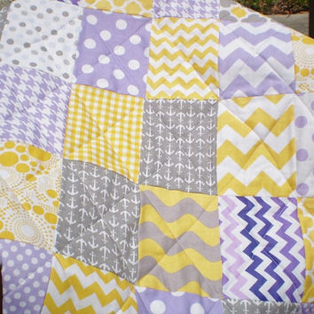 Nautical Baby quilt,patchwork crib quilt,baby boy or girl bedding,modern,grey,yellow,purple,chevron,toddler,anchors,waves,Nautical Passion