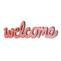 WELCOME Wood Distressed Wall Sign CORAL by OldNewAgain on Etsy