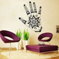 Hand Tattoo Henna Wall Decal Namaste Lotus Flower Yoga Ornament Geometric Moroccan Pattern Wall Vinyl Decals Sticker Home Decor Mural Design Graphic Bedroom (6087)