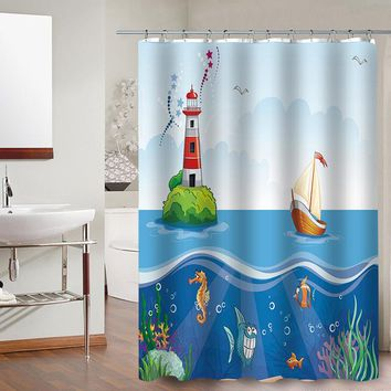 Colorful Cute Cartoon Shower Curtain For Kids