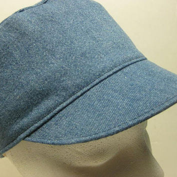 Womens Military Hat, Cadet Hat, Denim Hat, FULLY LINED