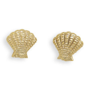 Gold-Plated Clam Shell Stud Earrings