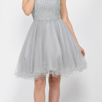 Appliqued Short Homecoming Dress Strappy Back Silver