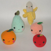 Amigurumi Fruit Basket  Set of 5