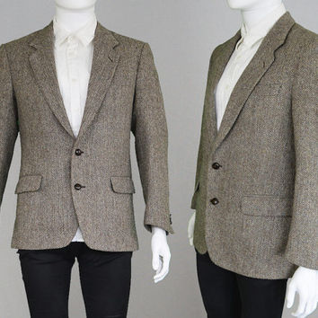 Vintage HARRIS TWEED Mens Tweed Blazer Grey Tweed Sport Coat Herringbone Jacket Mod Blazer Tweed Jacket Virgin Wool Jacket 80s Blazer Suit