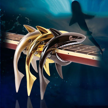 Guitar Accessories Sharks Folk Guitar Capo Acoustic Wooden Guitar Capo Sound Clip ALS