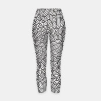 White and black zentangle Yoga Pants, Live Heroes