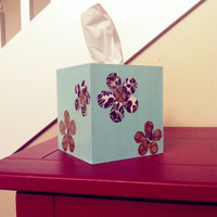 Floral Hand Painted Tissue Box Cover