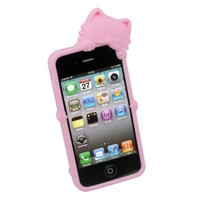 New Luxury Cute 3D Kiki Cat For iPhone 4 4S 4G silicone Cover Case PINK New Luxury Cute 3D Kiki Cat