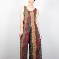 Vintage 90s Jumpsuit Gold Burgundy Green Brown Tribal Print Stripe Pantsuit Wide Leg Pants Romper Playsuit Hippie Jumper S Small M Medium