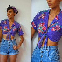 Vtg Front Tie Cropped Floral Print Purple SS Shirt
