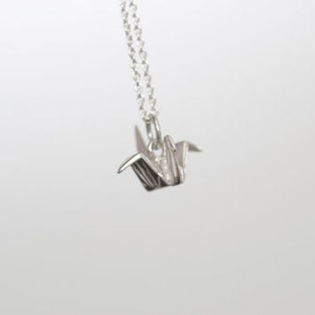 Silver Crane Necklace, Origami Crane Necklace, Crane Necklace, Crane Charm, Charm Necklace, Birthday Gift, Sterling Silver, Bird necklace