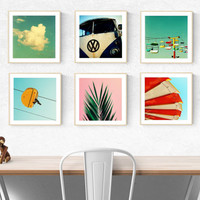modern art print set // beach california art prints // palm tree wall art photography - santa cruz photography art print set