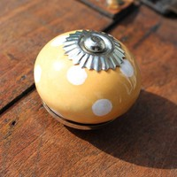 Ceramic Polka Dot Drawer Knobs in mustard yellow and white dots (CK03)