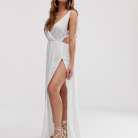 ASOS DESIGN tie back cross front split maxi beach dress in white | ASOS