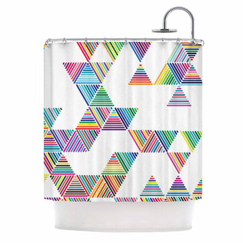 "Fimbis ""Rainbow Rain"" Multicolor White Shower Curtain"