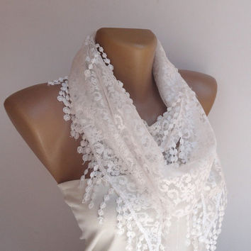 white wedding lace scarf , womens fashion scarves, white lace scarf