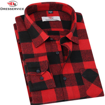 DRESSERVICE 2016 Hot New Men Plaid Long-sleeved Casual Shirts Flannel Slim Fit Chemise Homme Camisa Social Masculina