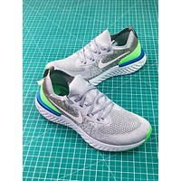 Nike Epic React Flyknit Grey Fluorescent Green Sport Running Shoes - Sale