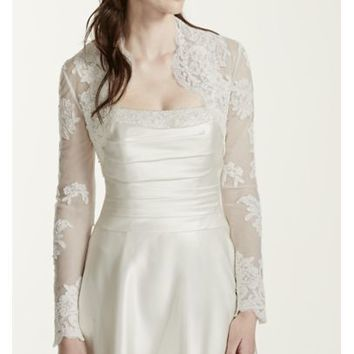Long Sleeve Lace Jacket - Davids Bridal