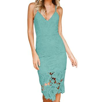 Maya Deep-V Lace Dress - Green
