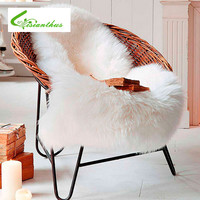 Soft Hairy Artificial Carpet Sheepskin Chair Cover Seat Pad Plain Skin Fur Plain Fluffy Area Rugs Washable Bedroom Faux Mat 1PCS