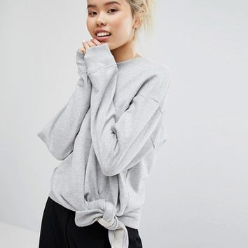 Weekday Sweatshirt with Knot Detail at asos.com