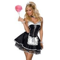 Beauty Lovely Sexy Black Halter Lycra Grenadine With Thong And Hairpin Maid Costume [TML0868] - $38.00 : Cosplay, Cosplay Costumes, Lolita Dress, Sweet Lolita