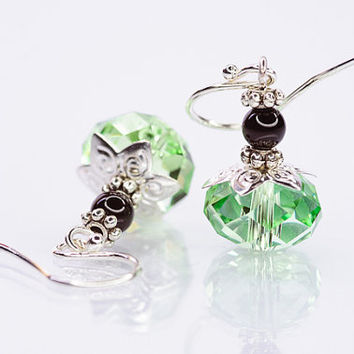 Small Green Earrings Swarovski Earrings Briolette Earrings Summer Earrings