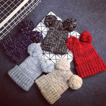 New arrive female new arrive winter hat women two pom poms beanie lovely 5 color