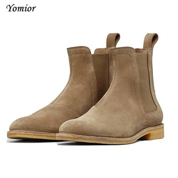 Handmade Men Chelsea Boots Vintage Casual Boots All-matching Kanye West Spring Boots Luxury Platform Wedding Party Shoe Sneakers