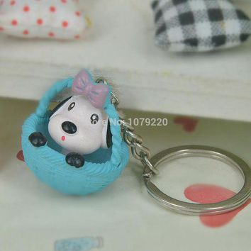 ac spbest Cute Round Basket Puppy Dog Resin Keyring Jewelry Women Charm Key Bag Chain Christmas Mother's Day Lover Girl Gift