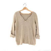 90s natural taupe sweater. spring knit sweater.
